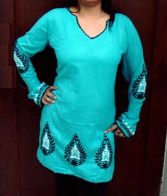 Turquoise Aqua Blue Green hand embroidered Womens Kurti Top Indian Chikankari special top    The pictures do not capture the true beauty of