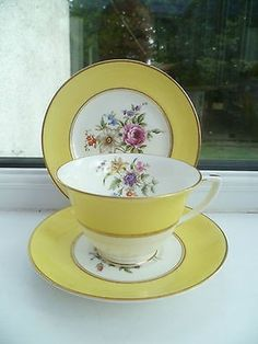 Vintage China Trio Tea Cup Saucer Side Plate Royal Worcester Miranda Yellow