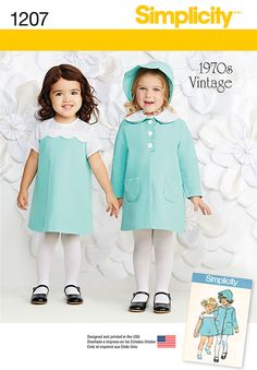 this vintage simplicity pattern for toddlers features an adorable dress with contrast yoke and sleeves, coat with pockets and detachable collar, and bonnet with scalloped detail. simplicity sewing pattern.