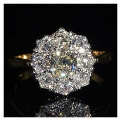 Antique Edwardian Diamond Cluster Halo Ring with 1.75ctw, Engagement... ❤ liked on Polyvore featuring jewelry, rings, edwardian engagement rings, diamond cluster ring, antique engagement rings, antique edwardian rings and antique jewelry