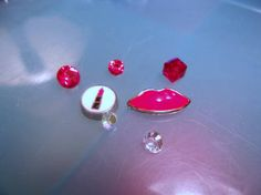 Lipstick and Red Lips Floating Charm Set-Red lips charm-Lipstick Charm-Living Locket-Memory Charms-Memory Locket-Origami Locket-Story Locket