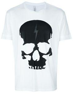Neil Barrett White Skull Print Tshirt