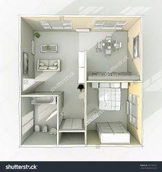 3d rendering freehand sketch home apartment with furnishings: room, bathroom, bedroom, kitchen, living-room, hall, entrance, door, window, balcony