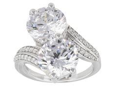 Bella Luce (R) 13.57ctw Diamond Simulant Round Rhodium Over Sterling Silver Ring (8.02ctw Dew)