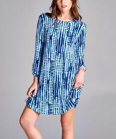 Look at this #zulilyfind! Blue Shibori Shift Dress #zulilyfinds
