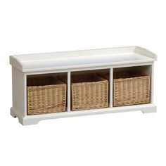 Tetbury Ivory Hall Bench with 3 Shoe Baskets (E508) with Free Delivery | The Cotswold Company