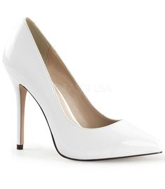 Shoes White Patent Stiletto white patent court shoes with classic design, pointy toe, front flat sole and sexy foot arch finished with a sexy 5 inch cm) stiletto high heels with matching white patent overlay for an uniform look. White Pumps Shoes, Slip On Pumps, White Heels, Pump Shoes, Stilettos, Patent Heels, Stiletto Heels, Pointed Toe Pumps, High Heel Pumps