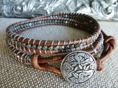 ONE FOR THE BOYS - FINALLY! Celtic Journey UNISEX silver & leather wrap by CricketandAbacus, $60.00