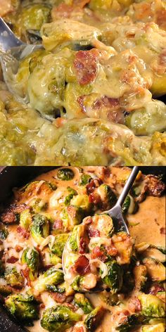 Creamy Bacon Brussels Sprouts with Mozzarella are so irresistible. What's even better is that it takes less than 30 minutes to make this flavorful dish! Bacon and Brussels Sprouts are such a classic ingredient combination! Bacon Recipes, Vegetable Recipes, Casserole Recipes, Veggie Heavy Recipes, Baked Cabbage Recipes, Thyme Recipes, Skillet Recipes, Pizza Recipes, Creamy Brussel Sprouts