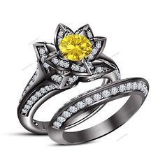 Yellow Sapphire 1.80 CT Round 14K Black Gold Finish Lotus Flower Bridal Ring Set #aonedesigns