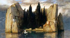 Autore: Arnold Bocklin. Nome: L'isola dei morti. Data: 1886. Tecnica: Colori a vernice su legno. Collocazione: Lipsia, Museum des bildenden Kunste.