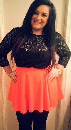 Long black hair! Cutesy skirt