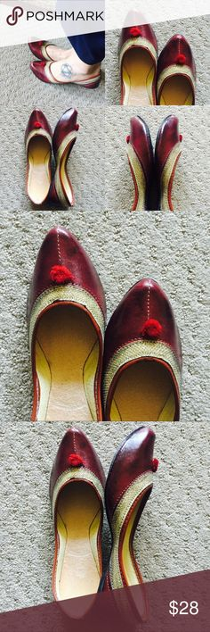 New ! Dazzling Maroon Embroidered Shoes New Collection! Medley of maroon and dazzling golden colors. Embroidered shoes with mirror embedded. Complete thread work. Tend to expand a bit after 3-4 wears.Super Comfy!  In India, we call these 'jutti'. Shoes Flats & Loafers