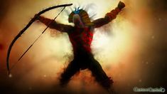 """Abaçai deus indigena É o deus da guerra, um tipo de 'Áries' ou 'Marte' dos nativos. É o espírito guerreiro que se apossa do índio que se prepara para batalhas sangrentas. Por isso, dizem que aqueles preparados para a guera estão """"abaçaiados""""."""