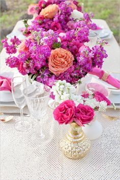 pink+magenta+coral flower decoration