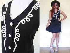 Vintage black embroidered vest dress mini babydoll by RebelCloset, $39.99
