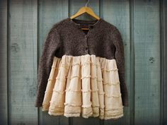 Eco+Shabby+Chic+Cardigan+Sweater//+Medium+Large+//+by+emmevielle