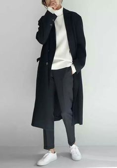 Real trousers! Classic ribbed T-neck and long over-coat plus white sneaks on the feet //.
