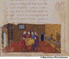 Ricc. 2669, FILIPPO CALANDRI, Trattato di aritmetica Sec. XV, fine; Firenze; bottega di Boccardino il vecchio.  Giocatori di perdavinco in una taverna, c. 113r