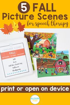 These 5 FALL picture scenes are part of my GROWING BUNDLE for speech therapy. Autumn language scenes include: Fall, Farm, Talk Like a Pirate, Halloween, and Thanksgiving. You will get a total of 19 scenes, including lots of speech therapy activities to go along with each language scene. Speech Language Therapy, Speech Therapy Activities, Language Activities, Speech And Language, Games For Middle Schoolers, Nouns And Pronouns, Multiple Meaning Words, Writing Pictures, Teaching Social Skills