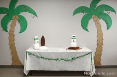 Make your own palm tree decorations for a Christmas in July party.