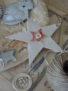fabric covered stars for Christmas tree