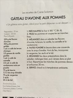 Gateau d'avoine aux pommes Dessert, Personalized Items, Apples, Recipe, Morning Breakfast, Kitchens, Dessert Food, Deserts, Desserts