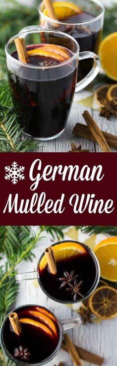 This German mulled wine is the perfect Christmas drink! It's prepared from r… This German mulled wine is the perfect Christmas drink! It's prepared from red wine that is heated and spiced with Christmas spices. Ready in 10 minutes! Christmas Drinks, Holiday Drinks, Christmas Baking, Holiday Recipes, Christmas Recipes, Winter Drinks, Wine Recipes, Cocktail Recipes, Vegan Recipes