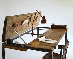Desk folds out into storage or larger desk