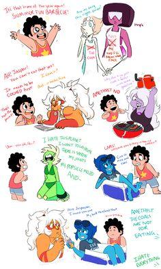 (Steven Universe) Steven, Pearl, Garnet, Jasper, Amethyst, Peridot and Lapis Lazuli