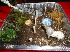 aluminum pan used for this miniature horse corral. Make A Fire Pit, Sedum Plant, The Tiny Seed, Baby Horses, Miniature Fairy Gardens, Tea Light Holder, Exotic Pets, Artificial Flowers, Garden Inspiration