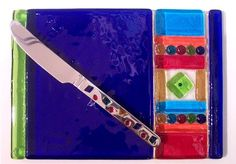 Fused glass cheese plate, functional, with matching cute spreader, signed by Artist on bottom too.