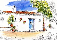 La Casita, Pen and Watercolour Wash Framed Prints, Canvas Prints, Pen And Watercolor, London City, Painting & Drawing, Greeting Cards, Tapestry, Drawings, Artwork