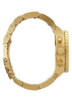 NIXON GOLD WATCH - New Arrivals The Golden Touch: The Nixon Gold Chrono watch delicately balances its feminine design with its high-performance technical abilities. Vestal Watches, Oversized Watches, G Shock Watches, Modern Watches, Gold Plated Bracelets, Watch Sale, Cartier Love Bracelet, Watch Brands, Gold Watch