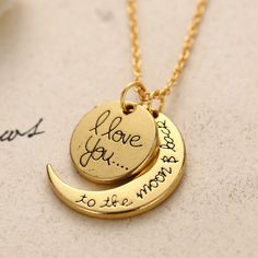 14K Gold High Quality Non-fading Moon and Son I LOVE YOU Pendant Chain Necklace as Men and Women Valentine's Gift