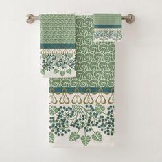 Blueberry Nouveau Art Deco Bath Towel Sets - luxury gifts unique special diy cyo