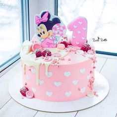 Minni Mouse Cake, Mickey And Minnie Cake, Bolo Mickey, Minnie Mouse Birthday Cakes, 4th Birthday Cakes, Buttercream Cake, Fondant Cakes, Cupcake Cakes, Pretty Cakes