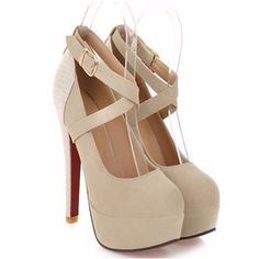 Go for the glam in this strappy high heel shoes. These shoes are very elegant and classy. Features high heels, round toe and ankle buckle strap. Made of rubber, cotton fabric, PU, soft leather materia