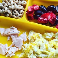 I've been MIA recently because I haven't been feeling well and honestly, we've been having a lot of take out. Today, I made her one egg scrambled in coconut oil, one slice of natural Apple smoked turkey, a mix of strawberries and grapes, and some Cheerios. She ate all her turkey and eggs, picked a few of the grapes out and didn't touch the Cheerios except to play with them. #pickyeater #toddlerfood #17months #whatifeedmykid #pickybites