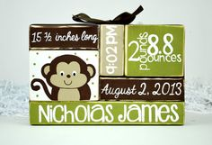 Monkey Baby Birth Custom Stat Nursery Decor by WoodenBlock on Etsy, $17.00