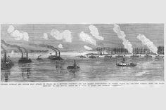 Mississippi River - Attack on Island No. 10, by Frank Leslie