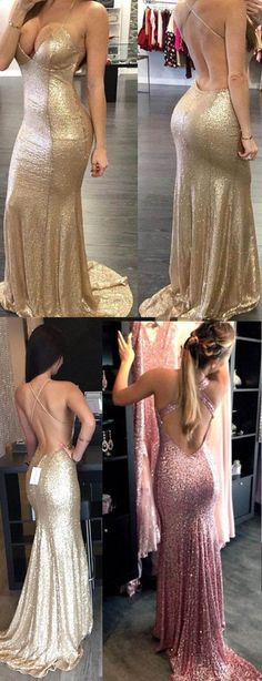 Backless Sequin prom dress, Mermaid Gold prom dress, Long prom dress, prom dress, Custom prom dresses