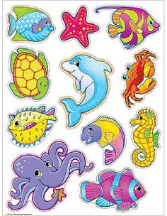 Imagenes animales para recortar Cartoon Sea Animals, Cartoon Fish, Sea Crafts, Paper Crafts, The Ocean, Crafts For Kids, Arts And Crafts, Painted Wine Glasses, Craft Ideas