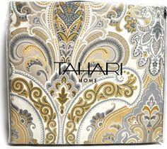 Boho chic Tahari Home Gray Tan Mustard Yellow Full Queen Duvet Cover 3pc Set Paisley Medallion Luxury Cotton Sateen