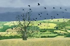 Countryside Alarm by British Contemporary Artist Annie Ovenden European Paintings, Contemporary Paintings, Landscape Art, Landscape Paintings, Pretty Drawings, Magic Realism, Naive Art, Modern Landscaping, Cool Landscapes