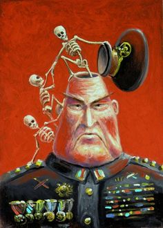Mark Bryan – 2005 – General Death Head (oil on panel) Surrealism Painting, Pop Surrealism, Social Art, Political Art, Unusual Art, Art Academy, Modern Artists, Weird Art, Gothic Art
