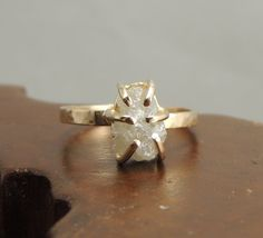 Carat Rough Diamond Ring, Engagment Ring, Alternative Engagement Ring,Conflict Free Diamond, Raw Diamond ~ Love that it's raw :) Alternative Engagement Rings, Best Engagement Rings, Rough Diamond, Diamond Cuts, Girls Jewelry, Jewelry Accessories, Luxury Jewelry Brands, Art Nouveau, Unusual Rings