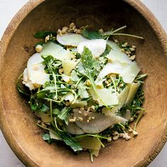 """Arugula & Pear Salad // A dinner party of bold, salty tapas (Spanish-style small plates) gains an element of freshness from this slightly sweet, crunchy salad, created for us by chef Ryan Pollnow of Aatxe (""""Ah-chay"""") restaurant in San Francisco. You'll have a bit of leftover vinaigrette for your next salad."""