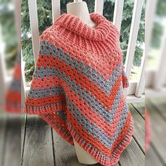 Hot Off My Hook! Project: Cowl-Neck Poncho Started: 25 Oct 2015  Completed: 27 Oct 2015 Model: Madge the Mannequin Crochet Hook(s): 7mm, Cowl portion J, Granny Stitch Yarn: Caron Simply Soft Color(s): Persimmon, Grey Heather, Pumpkin Pattern Source: Simply Crochet Magazine Issue No. 25 Pattern Designed By: Simone Francis Notes: This is my 41st Cowl-Neck Poncho! This is the 5th one I've made with Caron Simply Soft!