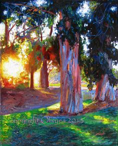 Original Painting Sunrise Landscape Oil on Canvas. The first Light. Sunrise Painting, Sunrise Landscape, Modern Impressionism, Landscape Paintings, Tree Paintings, Landscapes, Photo Canvas, Tree Art, Amazing Art